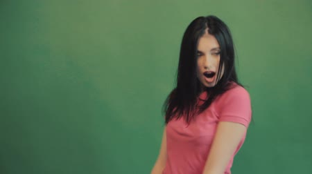 radość : Winner, success concept. Happy overjoyed woman celebrating successful shouting. Green background, summer. Wideo