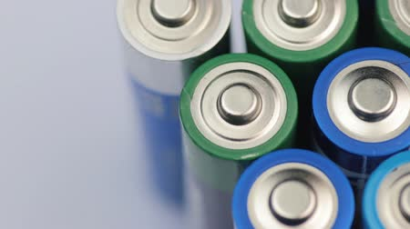 martwa natura : Macro Video of the Batteries Top. Concept of Energy, Power and Recycling. Wideo