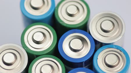 srebro : Macro Video of the Batteries Top. Concept of Energy, Power and Recycling. Wideo