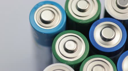 alkaline : Macro Video of the Batteries Top. Concept of Energy, Power and Recycling. Stock Footage