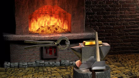 kowal : Gold Bar is on the anvil. The anvil is made of silver. Against the backdrop of a forge and fire.  Pliers take the gold. Transferred to a furnace