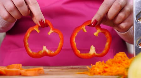 Showing two pieces of red bell pepper
