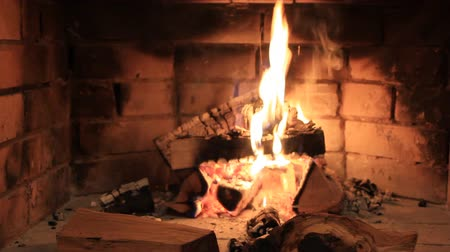 mekan : Brick fireplace fire Stok Video