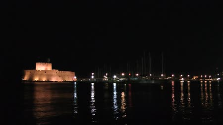 rhodes : Fort in rhodes port. Rhodes island. Greece. Night video.