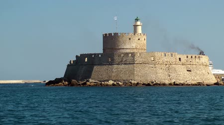 rhodes : Fort in rhodes port. Rhodes island. Greece. Stock Footage