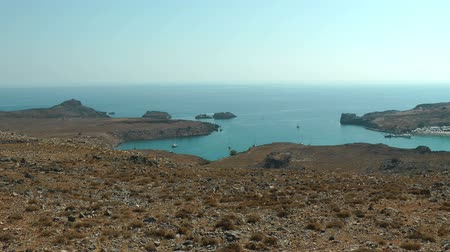 rhodes : Yact in the Lindos bay. Rhodes island. Greece.