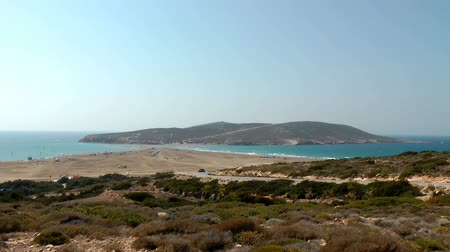 rhodes : Panoramic view of Prassonissi beach of Aegean and Mediterranean Seas. Rhodes, Greece.Timelapse.