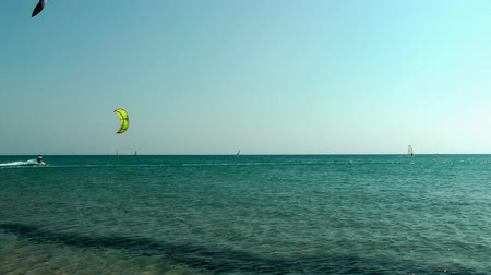rhodes : Windsurfing on Thef Prassonissi beach of Aegean and Mediterranean Seas. Rhodes, Greece.