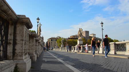 bernini : Tourist visiting Castel Santangelo and Berninis statue, Rome, Italy