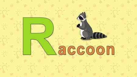 alphabet : Animation English alphabet. Letter R and word Raccoon. 2D handmade animation. Stock Footage