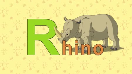 alphabet : Rhino. English ZOO Alphabet - letter R Stock Footage
