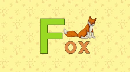 İngilizce : Fox. English ZOO Alphabet - letter F Stok Video