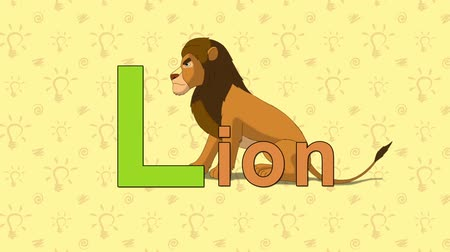 yırtıcı hayvan : Lion. English ZOO Alphabet - letter L Stok Video
