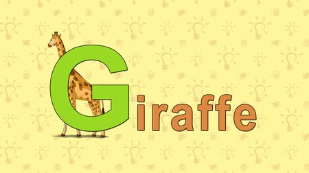 alphabet : Giraffe. English ZOO Alphabet - letter G Stock Footage