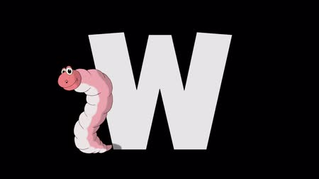 letter w : Letter W and Worm (foreground)