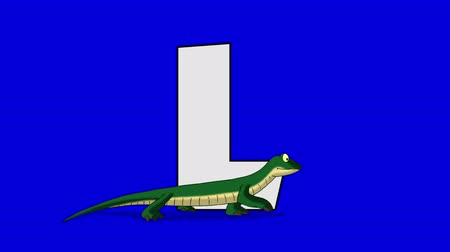 lógica : Letter L and Lizard (foreground) Animated animal alphabet. Motion graphic with chroma key. Animal in a foreground of a letter.