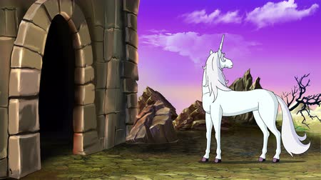 jardim zoológico : Fairy Tale Unicorn goes to the Castle. Handmade animated UHD motion graphic.