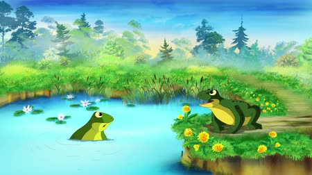 žába : Green Frog Sitting and Croaking Near the Pond in a Summer day. Handmade animated UHD motion graphic. Dostupné videozáznamy