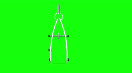 geometry compass : Compass tool drawing a circle. Animated footage isolated on green screen. Looped motion graphic.
