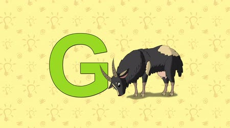 мультфильмы : Animated English ZOO alphabet. Letter G and word Goat Стоковые видеозаписи