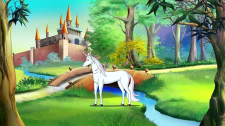 jardim zoológico : White Unicorn Walking near a Fairy Tale Castle in a Summer Day. Handmade animation, 4K motion graphic.