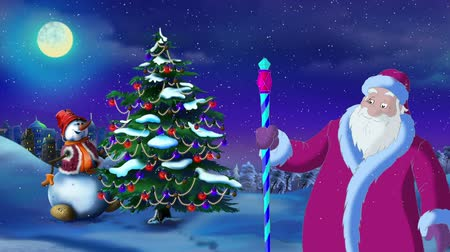 ded : Santa Claus Lights A Christmas Tree in a New Year Evening. Handmade animation in classic cartoon style
