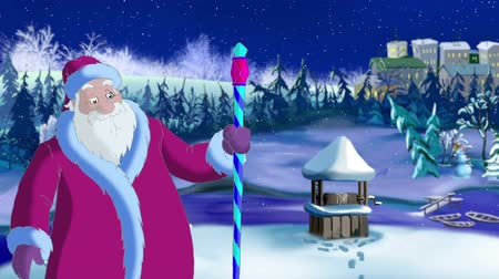 ded : Santa Claus Blowing a Cold Wind in Magic Snowy Winter Night. Outdoor Christmas and New Year scene, handmade animation in classic cartoon style