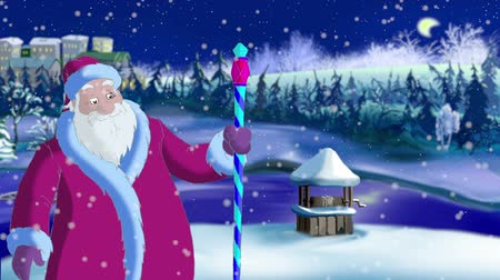 ded : Santa Claus Blowing Snow in Magic Winter Night. Outdoor Christmas and New Year scene, handmade animation in classic cartoon style
