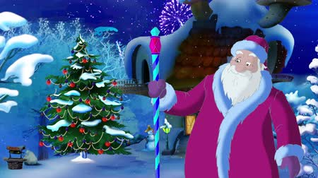 ded : Santa Claus Lights A Christmas Tree in a Fairy Tale New Year Night. Handmade animation in classic cartoon style Stock Footage