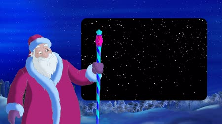 ded : Santa Claus Blowing a Cold Wind in Magic Winter Night. Outdoor Christmas and New Year scene, handmade animation in classic cartoon style with Alpha Channel Frame