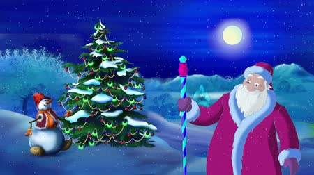 ded : Santa Claus Lights a Christmas Tree in the Moonlit Night. Handmade animation in classic cartoon style