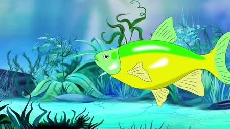 green-yellow Aquarium Fish floats in an aquarium. Handmade animation, looped motion graphic.