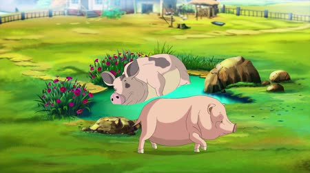Pink Mother Pig and Little Piggy in a summer day. Handmade animation, looped motion graphic.