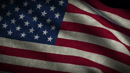 listras : American Flag Style Grunge True Color Flow Down Stock Footage