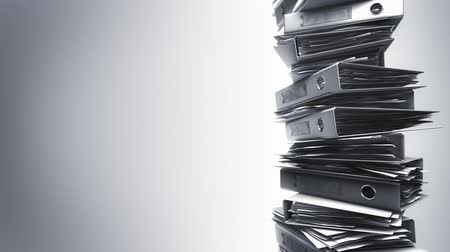 papelada : Office Binders Stack (Loop). Ring binders piled. Seamless loop.