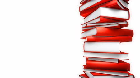 cores vibrantes : Red Books Stack on white (Loop). Red Books piled. Seamless loop, with copy space.