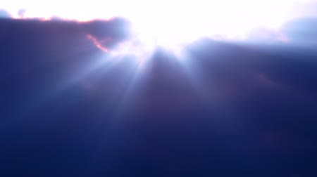 iluminado pelo sol : Blue Clouds Rays Flyby (Loop). Fly over volumetric clouds with light rays. Seamless loop.