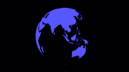 orbe : Symbolic Earth Globe Rotating on Black (Loop with Matte). World map on globe rotating in seamless loop. Classic TV news style. You can change color, hue or lightness in your favourite video editing software.
