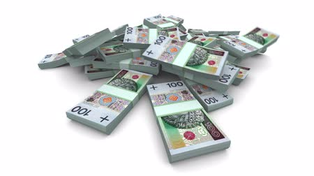 enflasyon : Falling 100 Polish zlotys (PLN) packs. Realistic render with soft body simulation. Stok Video