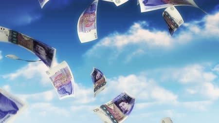 pounds : Money from Heaven - GBP (Loop). 20 Pound Sterling bills falling from sky. Seamless loop, slight motion blur for realistic movement.