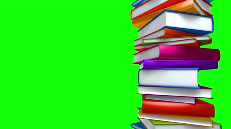 ellát : Colorful Books Stack (Loop on Green Screen). Colorful books piled. Seamless loop, with copy space on greenscreen.