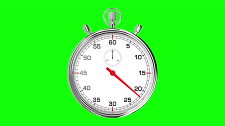 contagem regressiva : Stopwatch Loop Realtime (Green Screen). Realistic stopwatch animation in seamless loop, realtime speed (full 60 seconds).