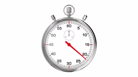 contagem regressiva : Stopwatch Loop Realtime. Realistic stopwatch animation in seamless loop, realtime speed (full 60 seconds). Vídeos