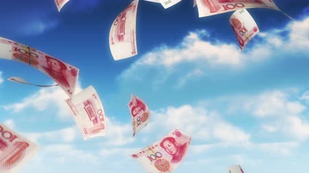 estoques : Money from Heaven - CNY - RMB (Loop). 100 Chinese Yuan bills falling from sky. Seamless loop, slight motion blur for realistic movement.