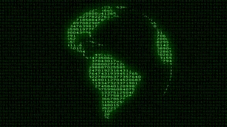 code : Digital Earth - Data Code Matrix Intro. Camera moving back from extreme close up of the monitor screen, showing matrix of digits creating rotating Earth globe. Stock Footage