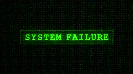 code : System Failure Text - Digital Data Code Matrix. Camera moving back from extreme close up of the monitor screen, showing SYSTEM FAILURE text.