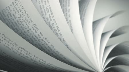 página : Turning Pages (Loop) Greek Book. Pages with random Greek words  sentences. Seamless Loop, depth of field.