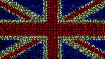 bandeira : Cyber UK Flag - Digital Data Code. Camera moving back from extreme close up of the monitor screen, showing United Kingdom flag built of digits.