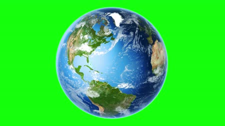 cartografia : 4K Realistic Earth Rotating (Loop on Greenscreen). Globe is centered in frame, with correct rotation in seamless loop. Perfect for your own background using green screen. Stock Footage