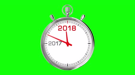horas : New Year 2018 Stopwatch (Green Screen). Stopwatch countdown from year 2017 to 2018. Clean mask on green screen. Stock Footage